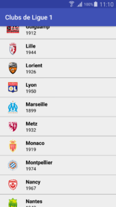 Application qui liste les clubs de Ligue 1